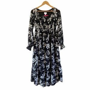 Floral Isabel Maternity Dress   black and white  